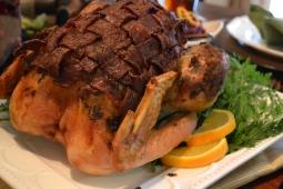 Turkey in braided turkey-bacon blanket.
