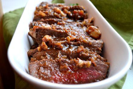 Teriyaki Tri-tip Steak with Roasted Garlic.