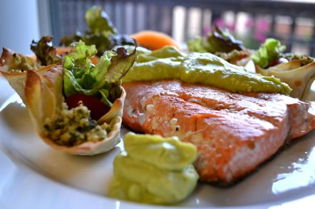 Poached Salmon with Avocado-Chèvre spread