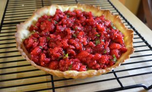 Raspberry mint tart filling.