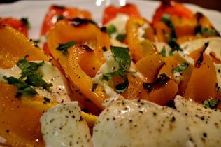 Roasted peppers and mozzarella