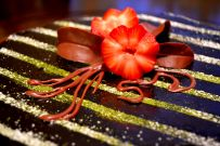 Chocolate leaves, strawberry flower