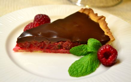Raspberry mint tart with chocolate ganache.