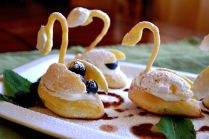 Puff pastry swans