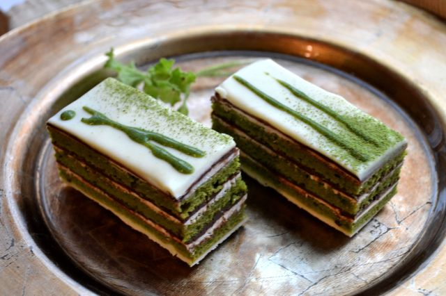 Tiny Green Tea Opera Cakes