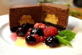 Chocolate mousse, berry compote and lavender cremeux