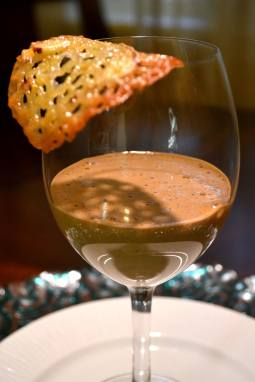 Coffee sabayon with orange tuile
