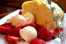 Lemon pound cake with honey parfait