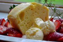 Lemon pound cake with lavender syrup and honey ice parfait