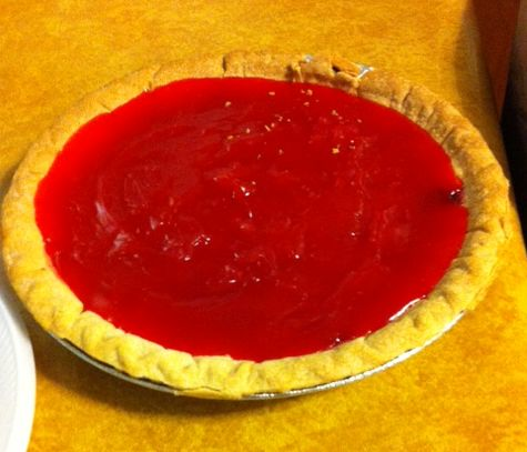 Weird frozen-strawberry jello pie