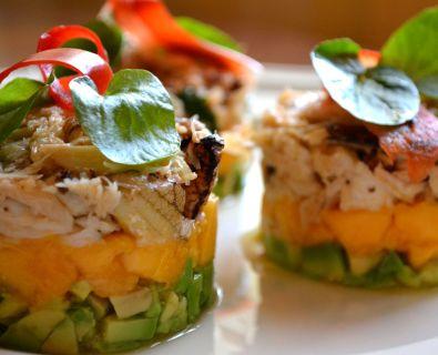 crab, mango and avocado