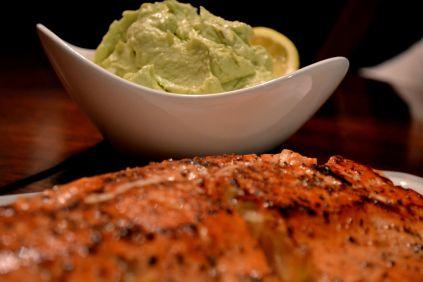 Salmon with chevre avocado spread