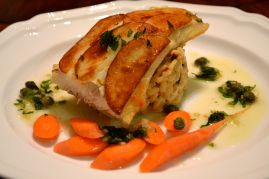 Halibut with encrusted potato on rissoto with tarragon sauce
