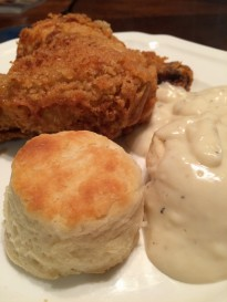 Biscuits, gravy and fried chicken