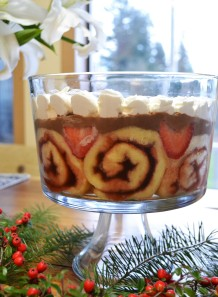 Holiday Chocolate and Strawberry Trifle