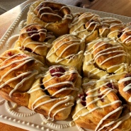 Raspberry, White Chocolate Brioche rolls